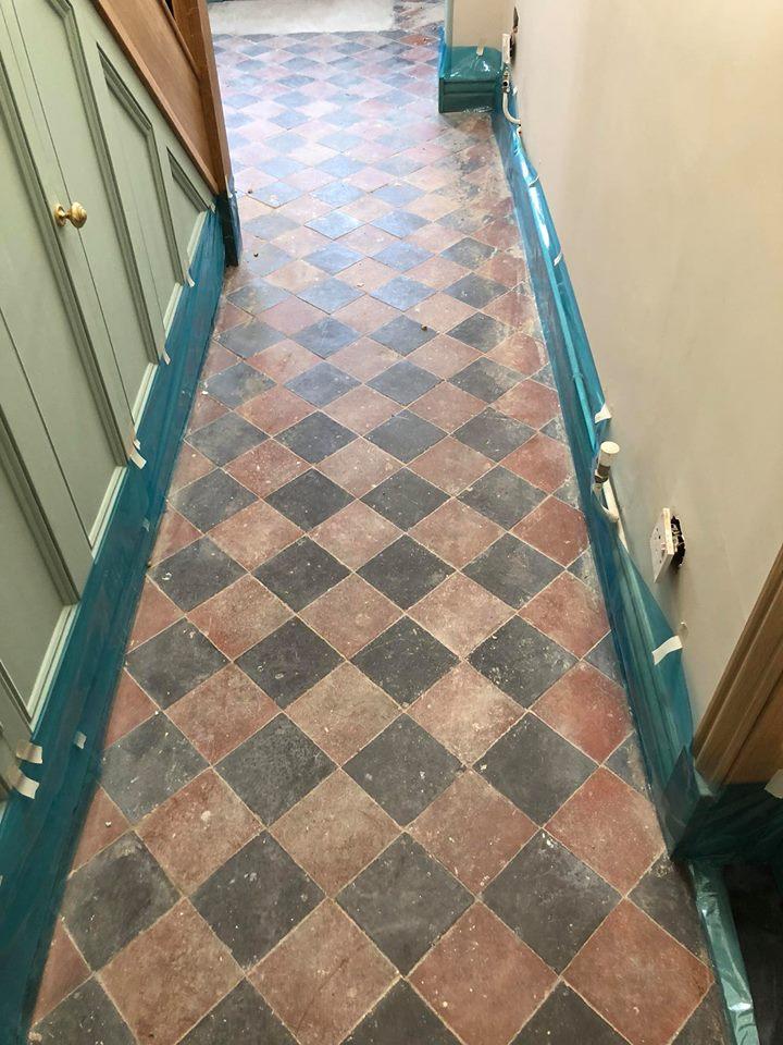 Victorian Tiled Hallway Before Restoration Great Paxton