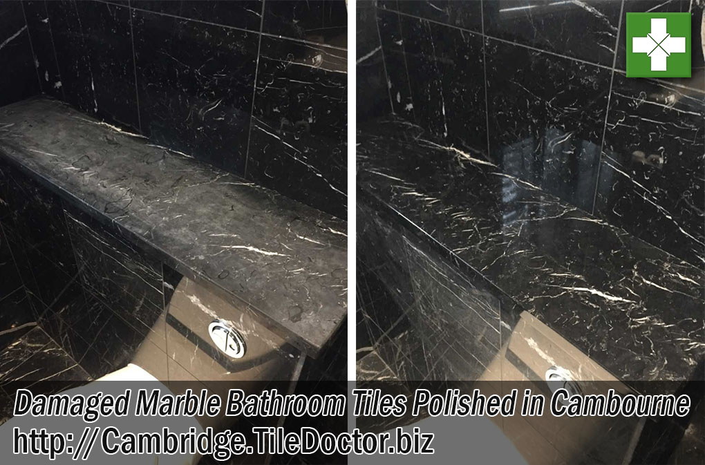 Damaged Marble Tiled Bathroom Tiles Before and After Polishing Cambourne