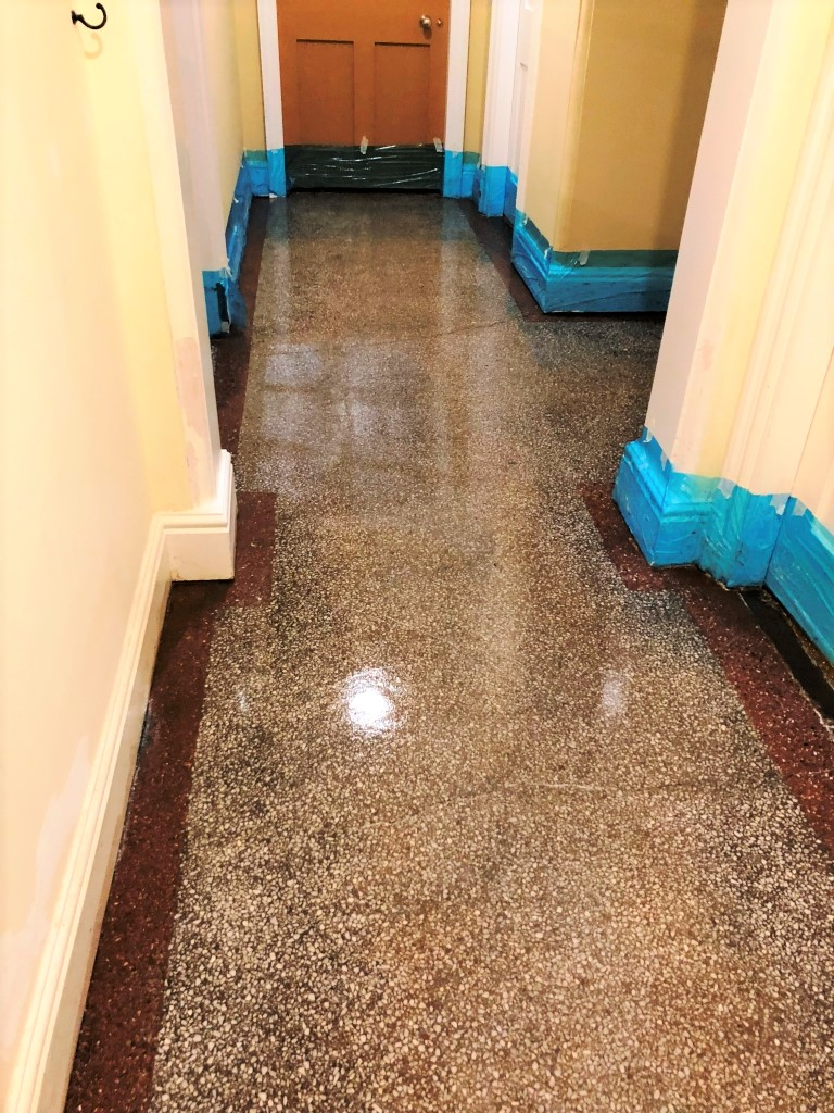 Adhesive Covered Victorian Terrazzo Hallway After Cleaning Newmarket