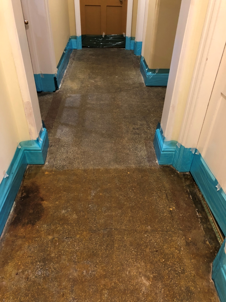 Adhesive Covered Victorian Terrazzo Hallway Before Cleaning Newmarket