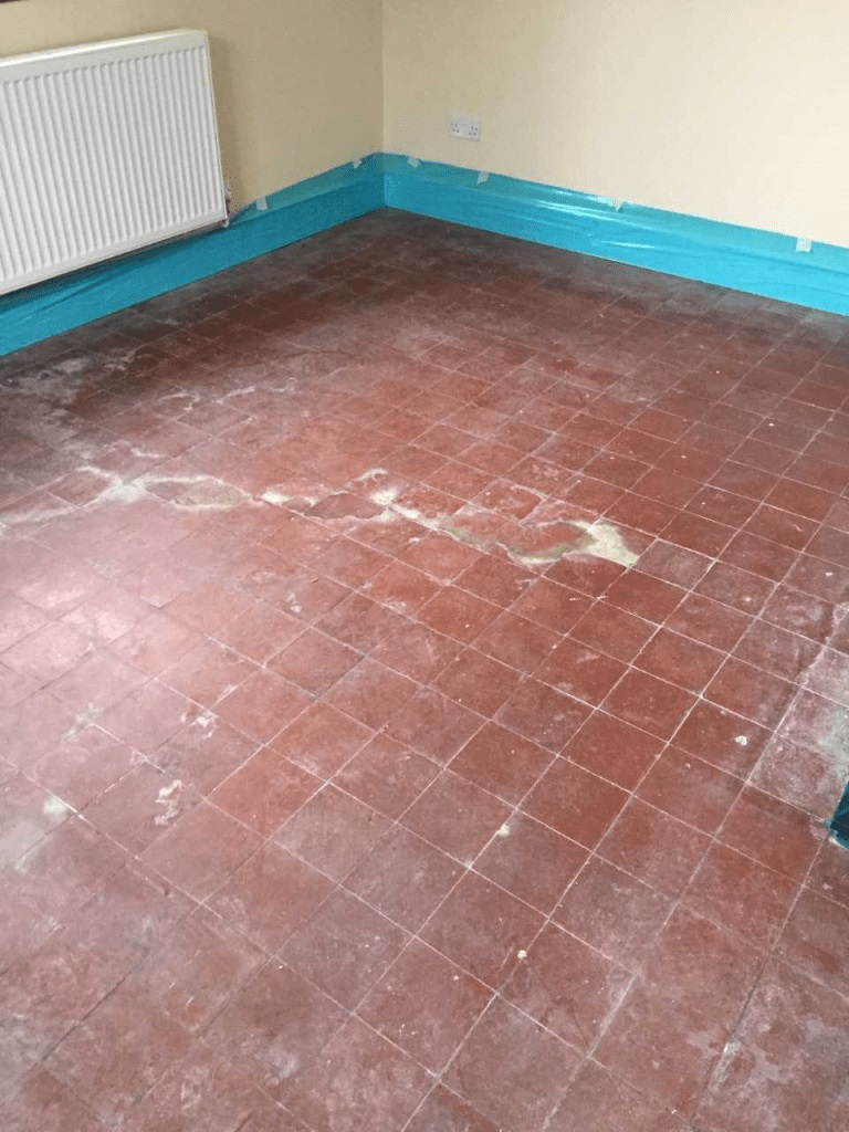 Quarry Tiled Floor With Salt Staining Wicken Before Cleaning