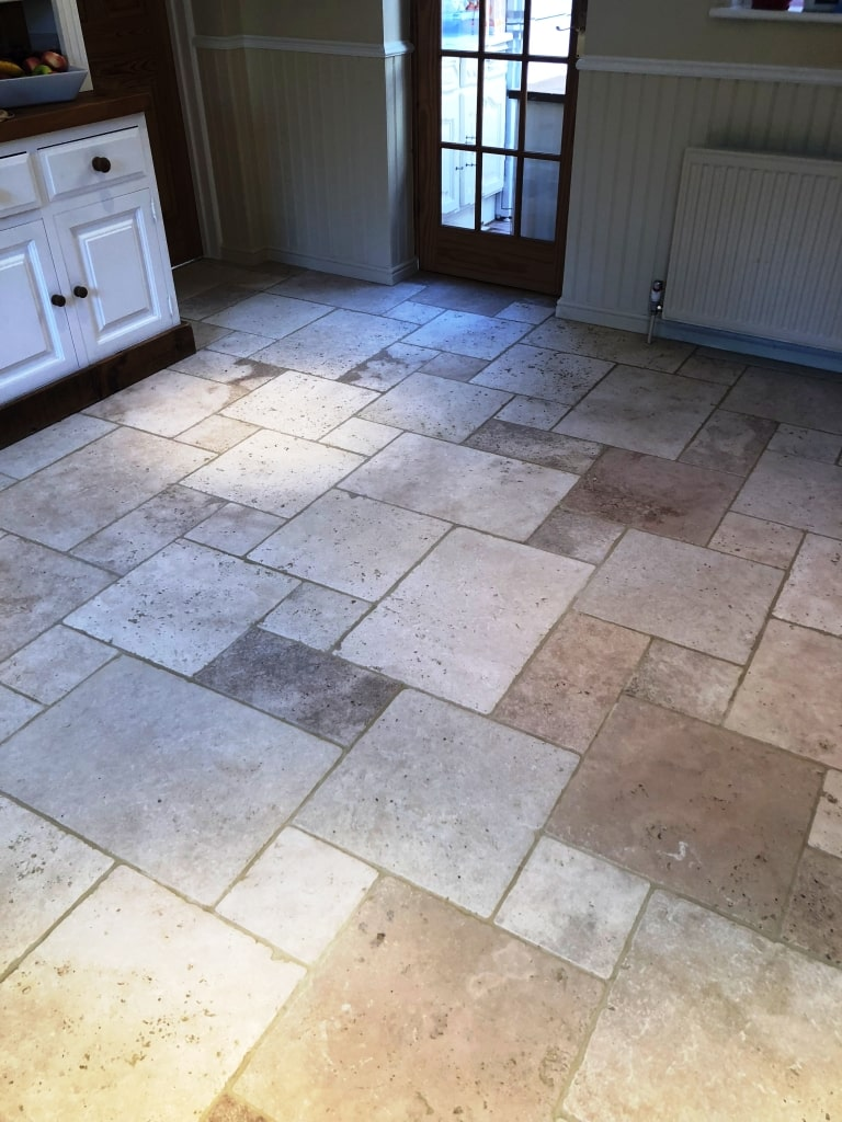 Limestone Tiled Floor After Cleaning Sealing
