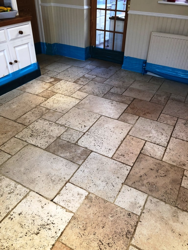 Limestone Tiled Floor Before Cleaning
