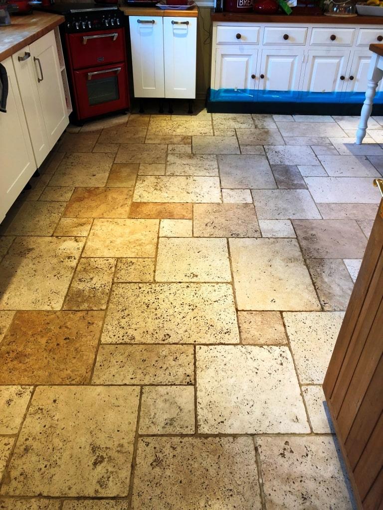 Limestone Tiled Floor Before Cleaning