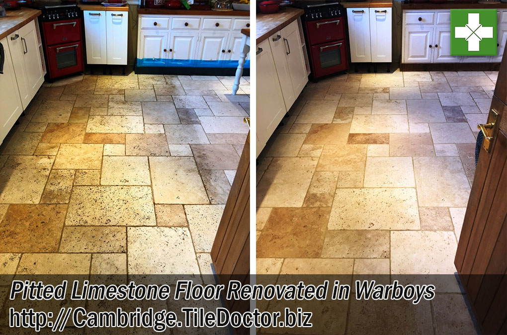 Pitted Limestone Floor Before After Renovation Warboys Cambridgeshire