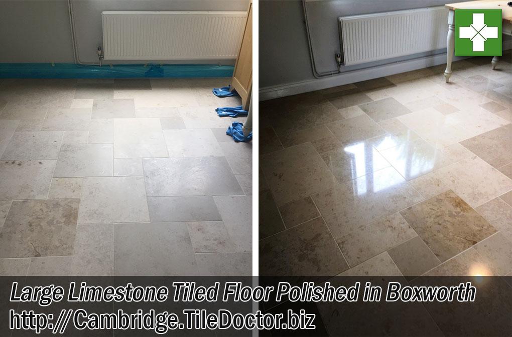 Large Limestone Tiled Floor Before After Polishing Boxworth