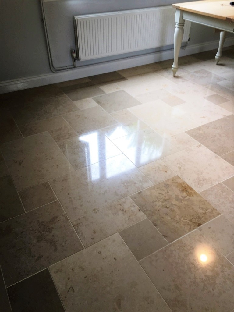 Limestone Tiled Floor After Polishing Boxworth Cambridge