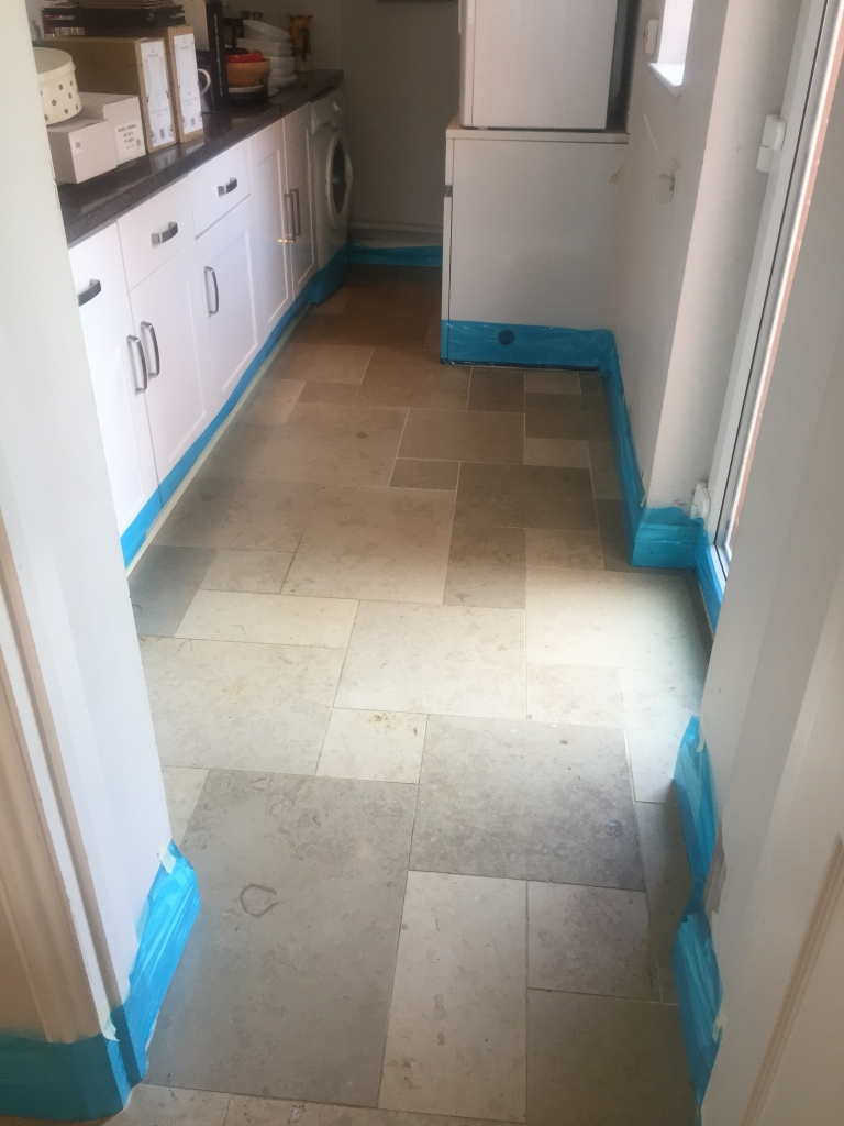 Limestone Tiled Floor Before Cleaning Boxworth Cambridge