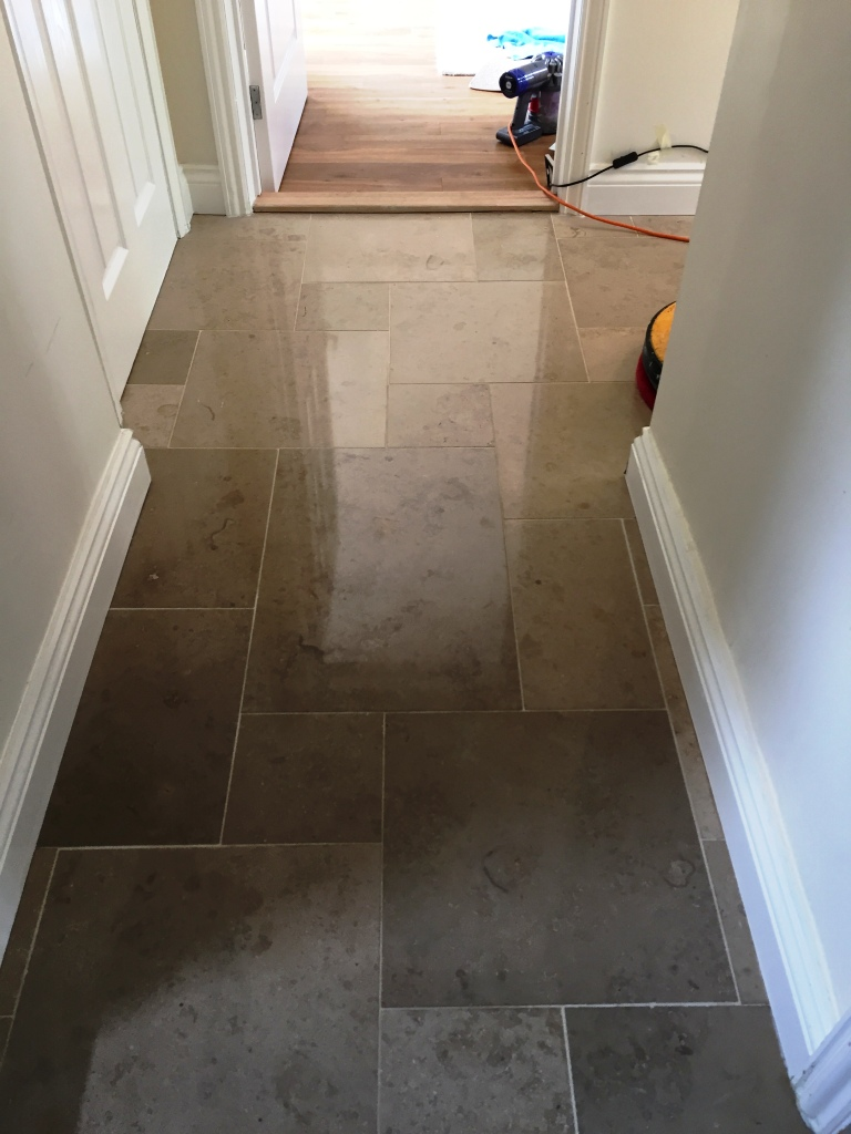 Limestone Tiled Floor During Polishing Boxworth Cambridge