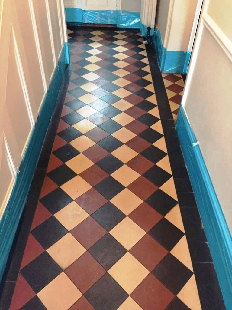 Victorian Tiled Hallway Before Cleaning Girton