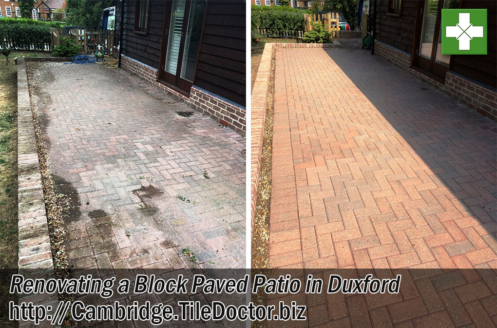 Block Paved Patio Before After Renovation Duxford