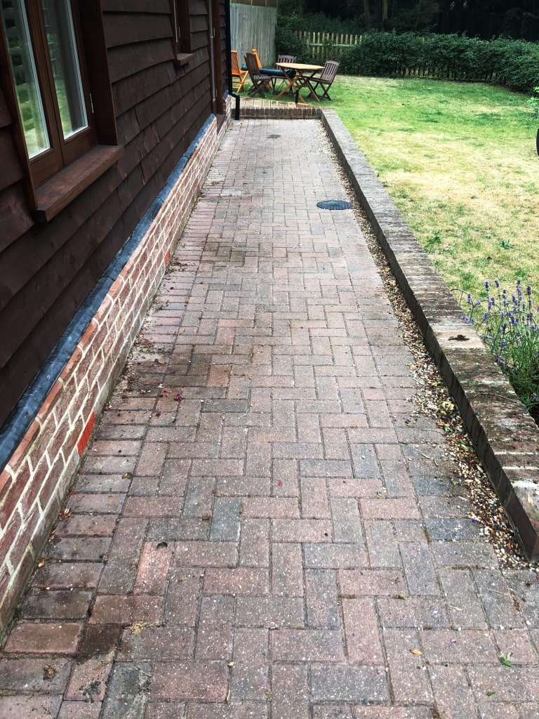 Dirty Block Paved Patio Before Deep Cleaning Duxford