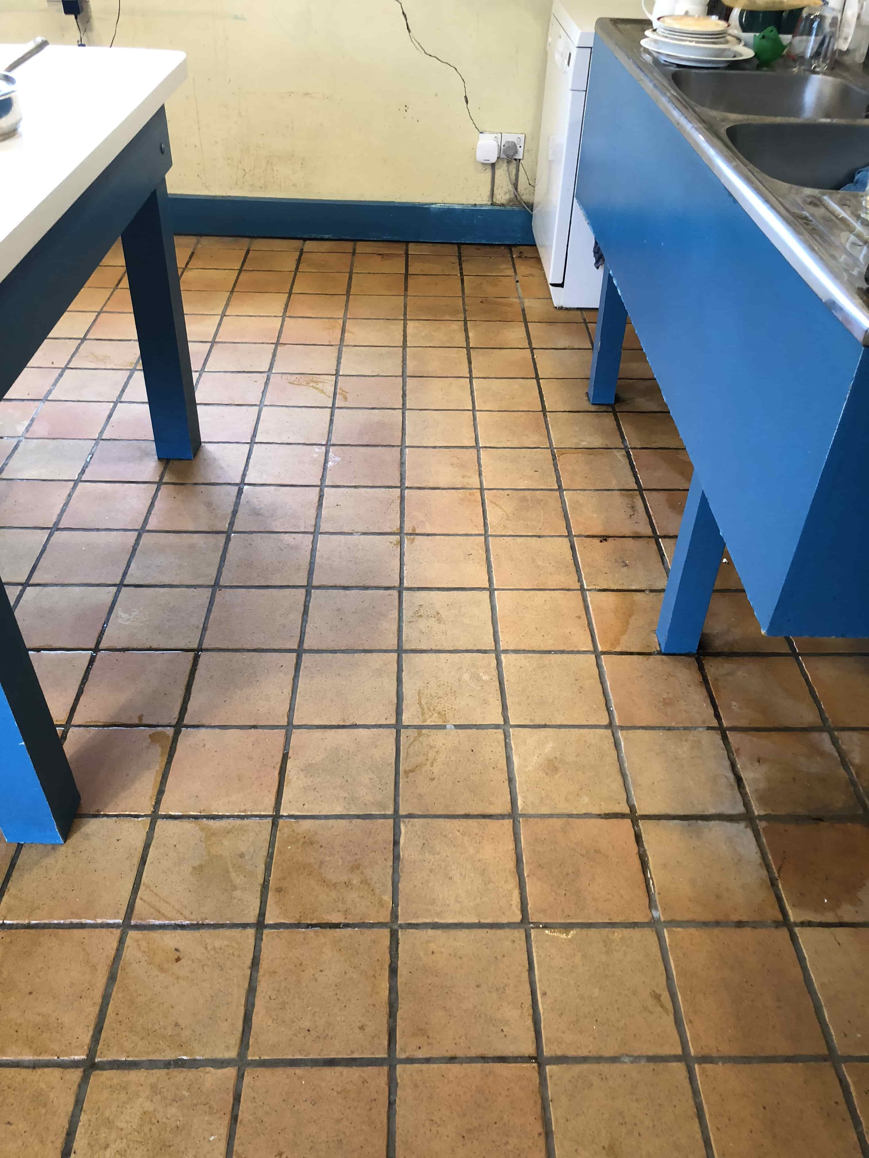 Porcelain Tiled Kitchen Floor Before Cleaning Ely
