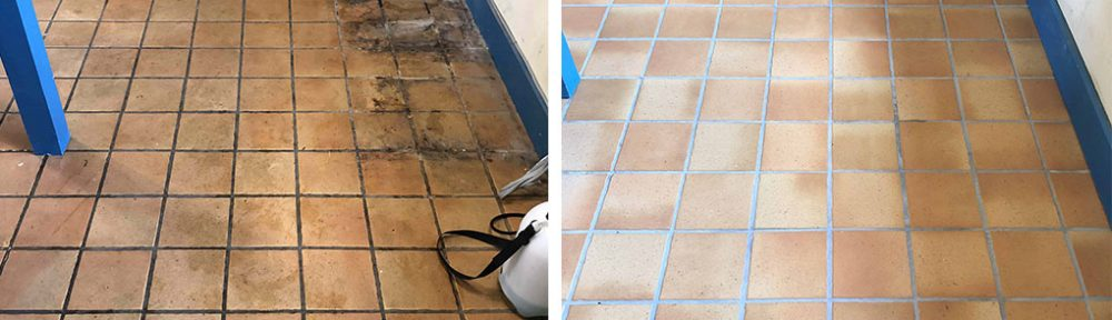 Terracotta Effect Porcelain Tile & Grout Deep Cleaned in Ely