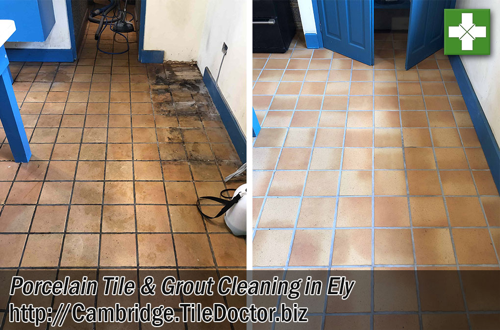 Terracotta Effect Porcelain Tile Grout Before After Cleaning Ely