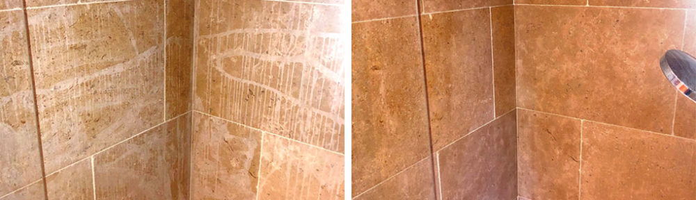 Renovating an Acid Etched Limestone Tiled Shower in Huntingdon