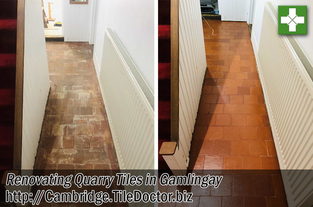 Salt Stained Quarry Tiles Floor Before After Renovation Gamlingay