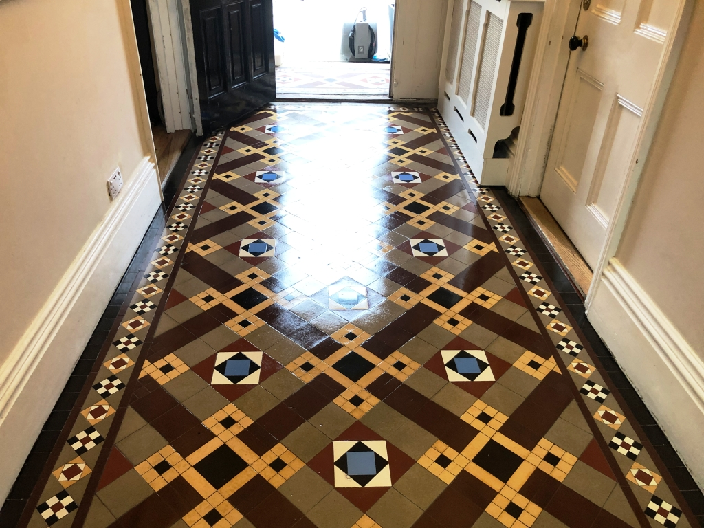 Victorian Tiled Hallway After During Restoration in St Neots