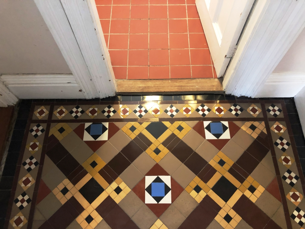 Victorian Tiled Hallway After Restoration in St Neots