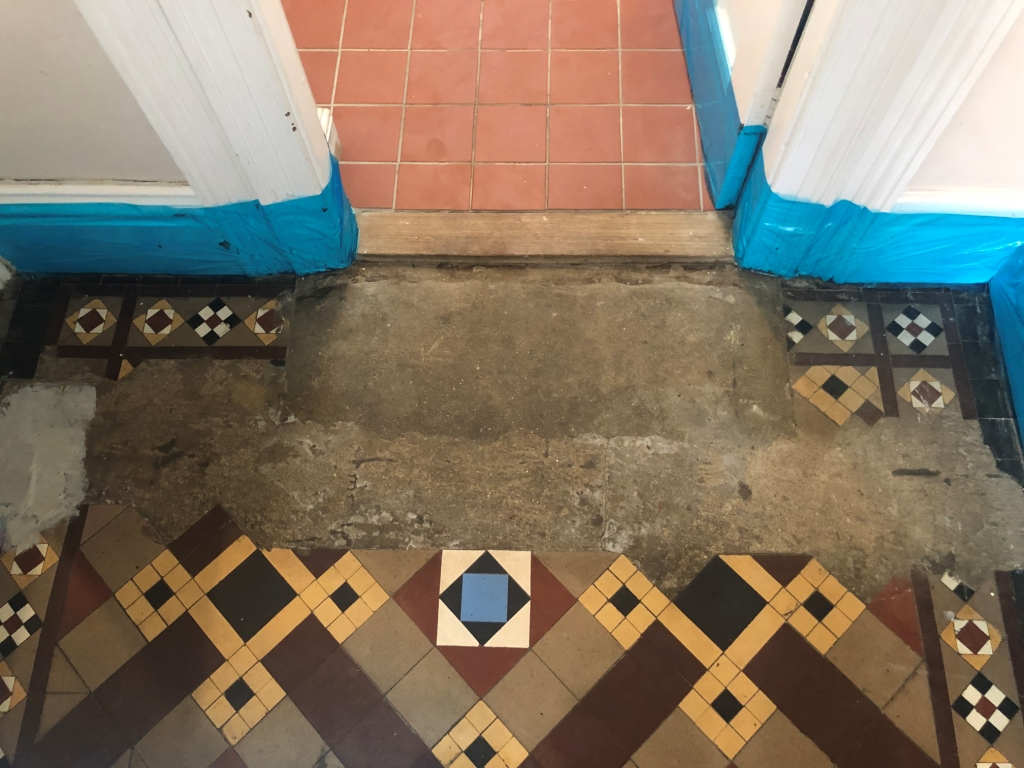Victorian Tiled Hallway Before Repair Restoration in St Neots