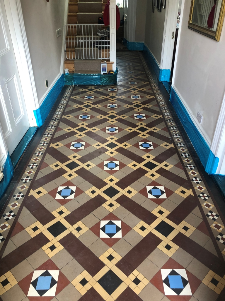 Victorian Tiled Hallway Before Restoration in St Neots
