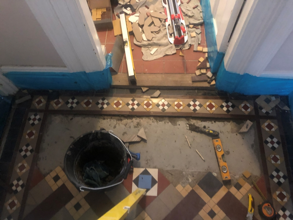 Victorian Tiled Hallway During Restoration in St Neots