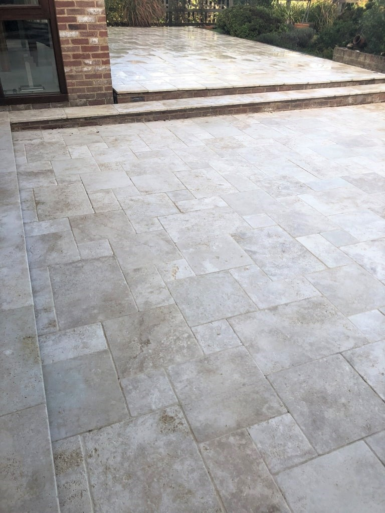 Travertine Patio After Cleaning Stonely