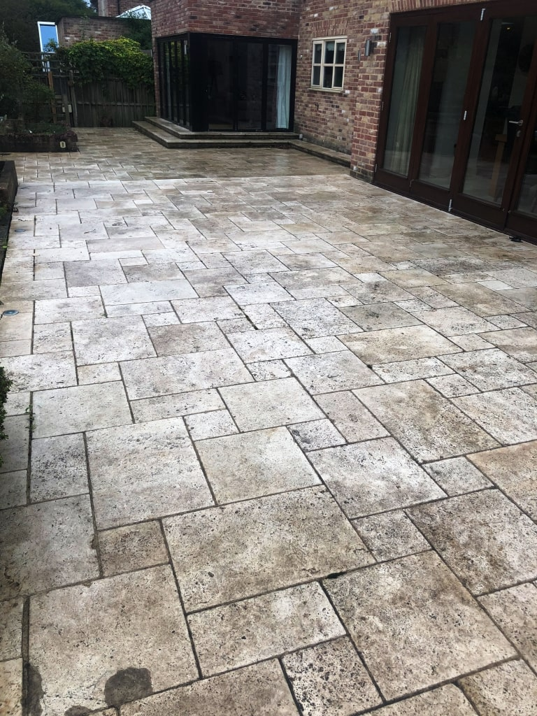 Travertine Patio Before Cleaning Stonely