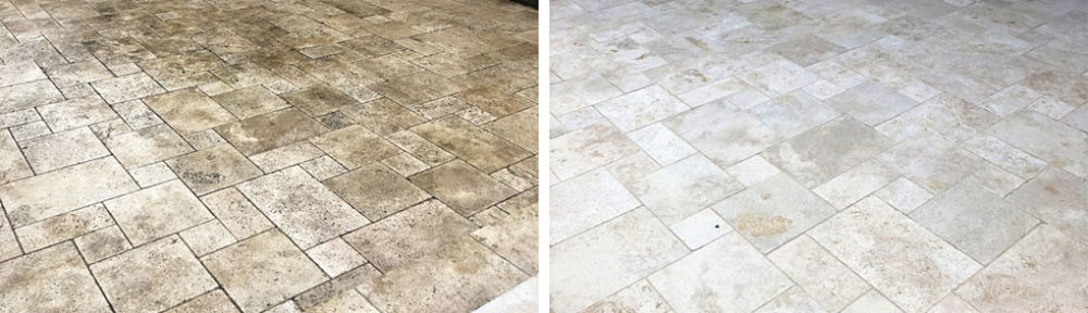 Travertine Tiled Patio Floor Restoration in Stonely