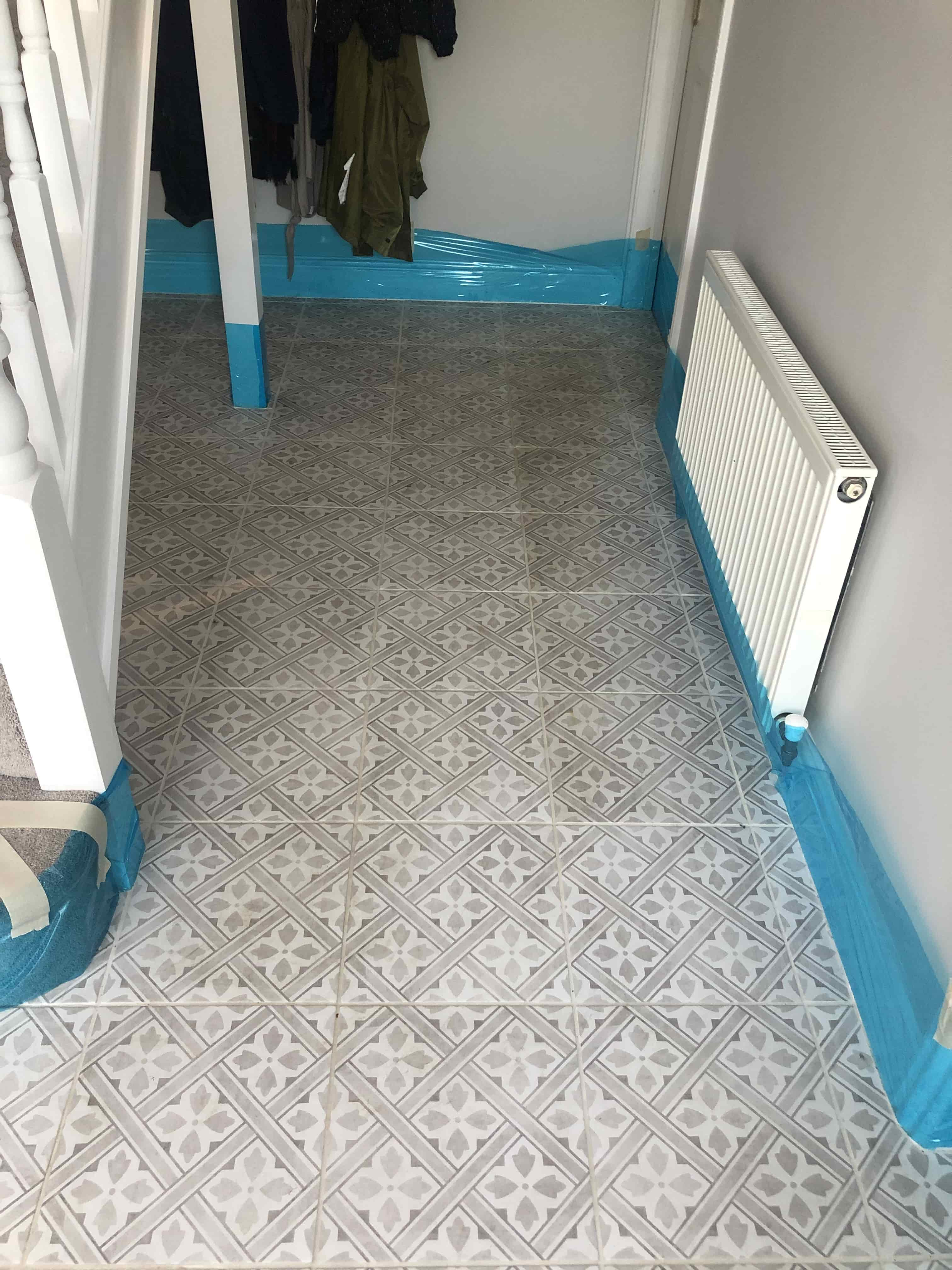 Encaustic Tiled Hallway Before Cleaning Waterbeach