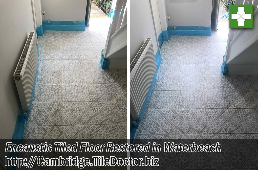 Encaustic Tiled Hallway Floor Before After Restoration Waterbeach