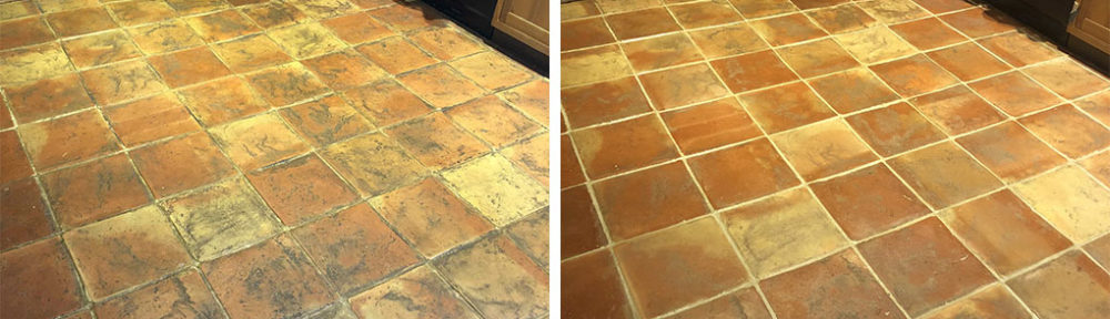 Dirty Terracotta Floor Before After Renovation Haslingfield