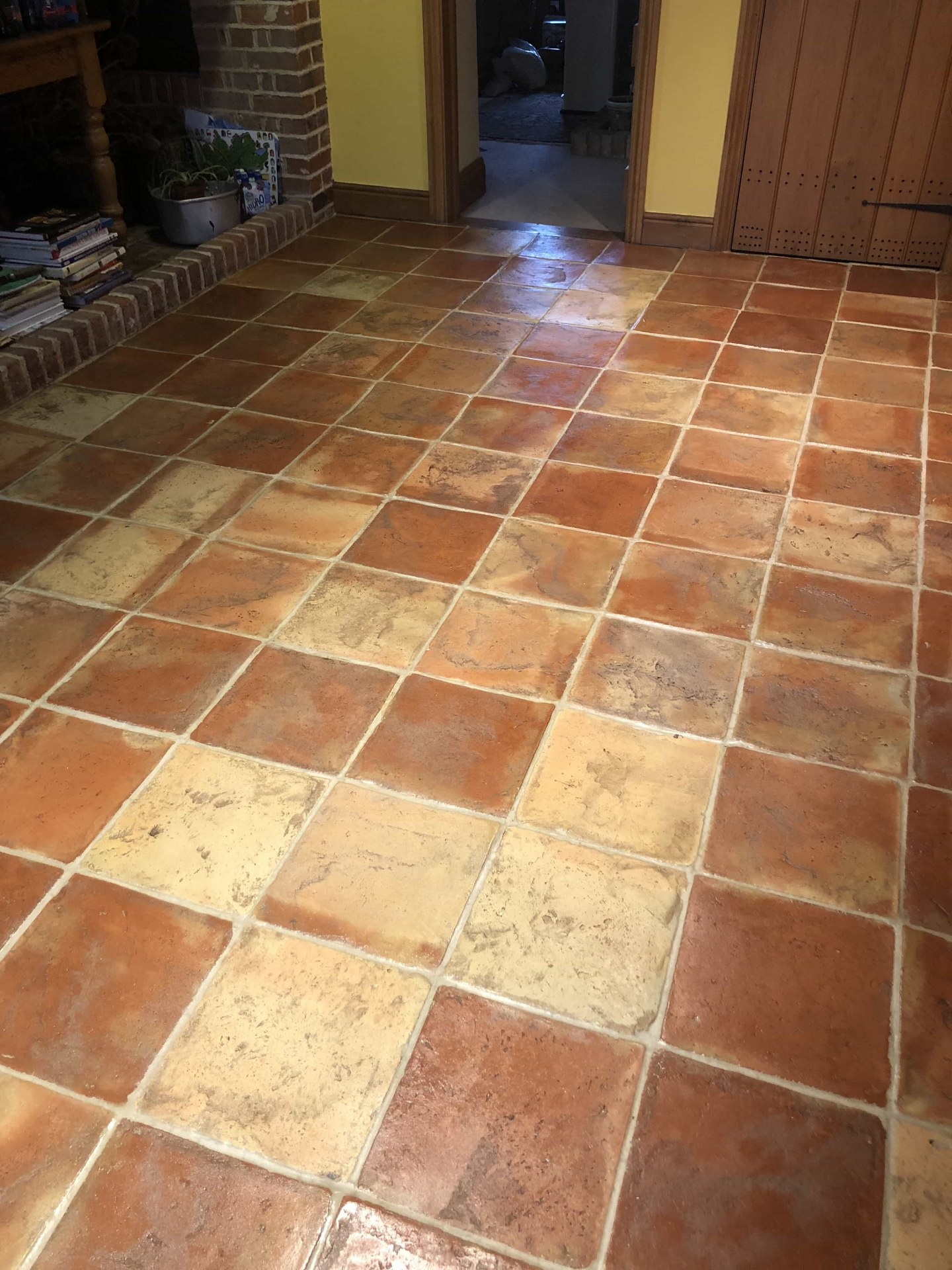 Terracotta Tiled Floor After Sealing Haslingfield