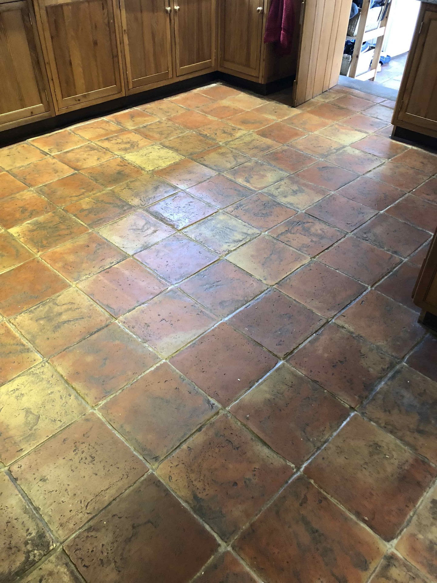 Terracotta Tiled Floor Before Cleaning Haslingfield
