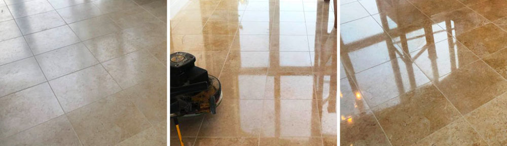 Lack Lustre Marble Floor Given a Deep Durable Shine in Great Shelford