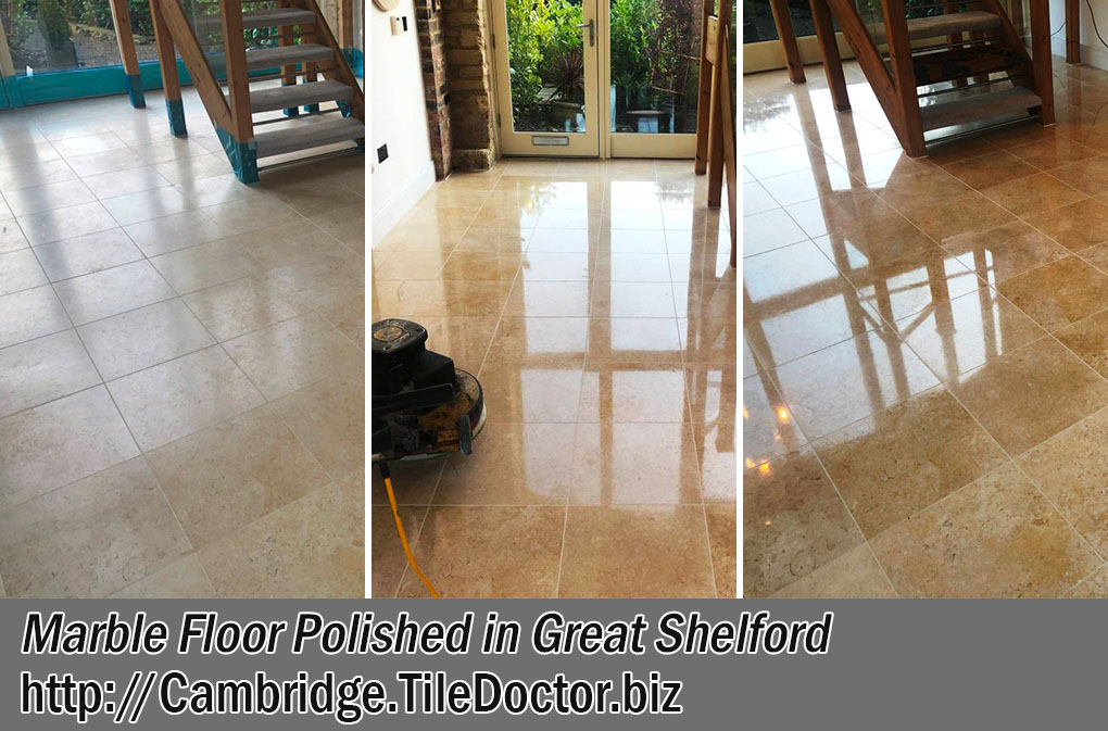 Marble Tiled Floor Before After Polishing Great Shelford
