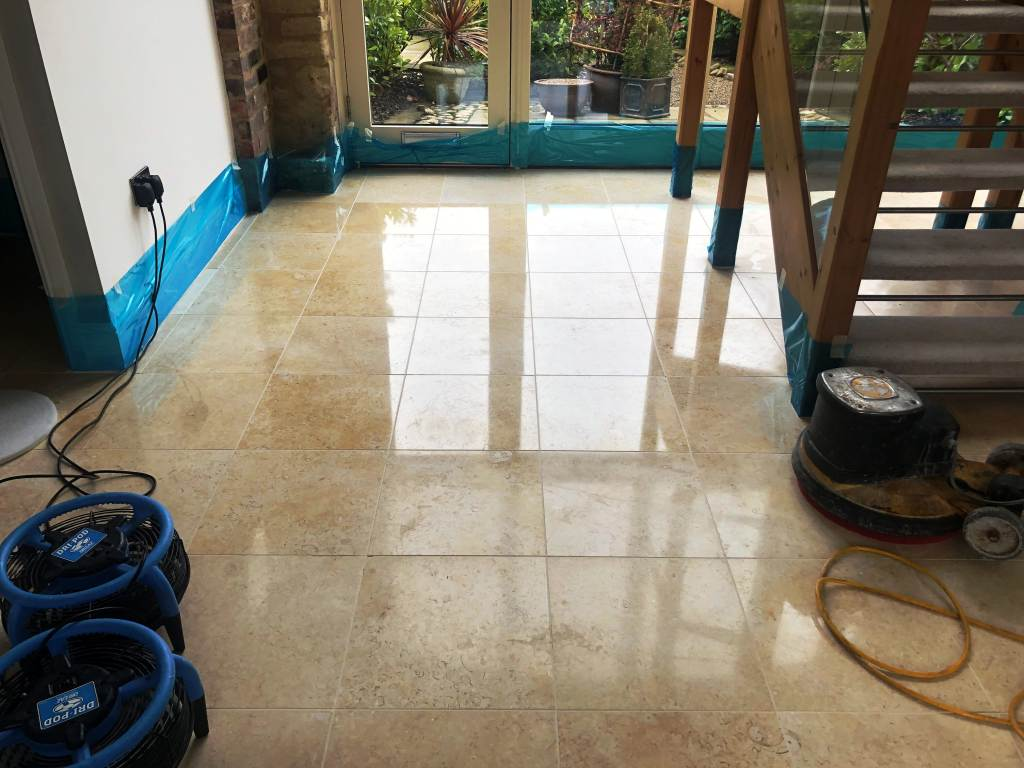 Polished Marble Floor During Polishing Great Shelford