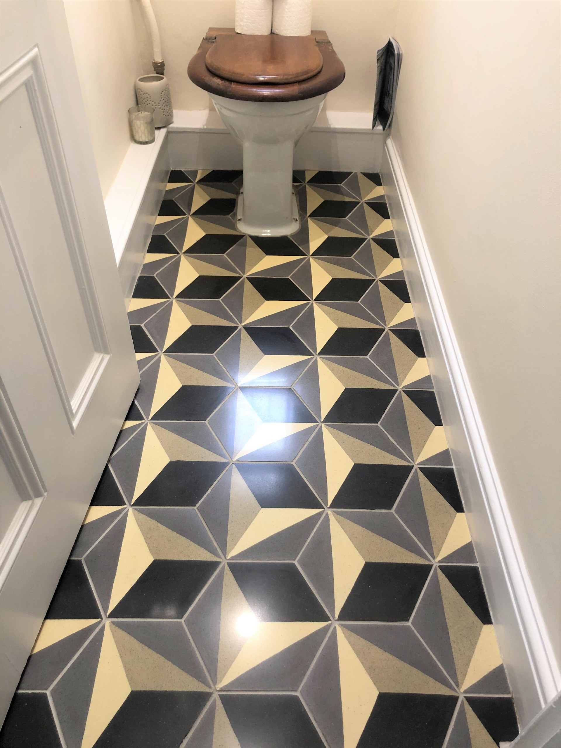 Encaustic Tiled Bathroom Floor After Renovation in Histon