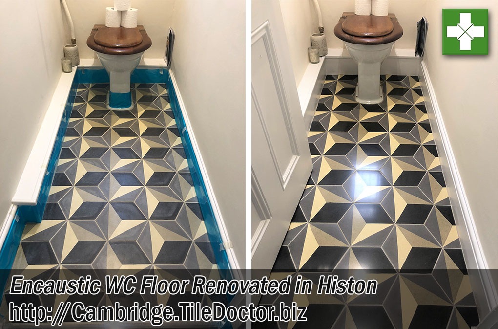 Encaustic Tiled WC Floor Before and After Restoration Histon