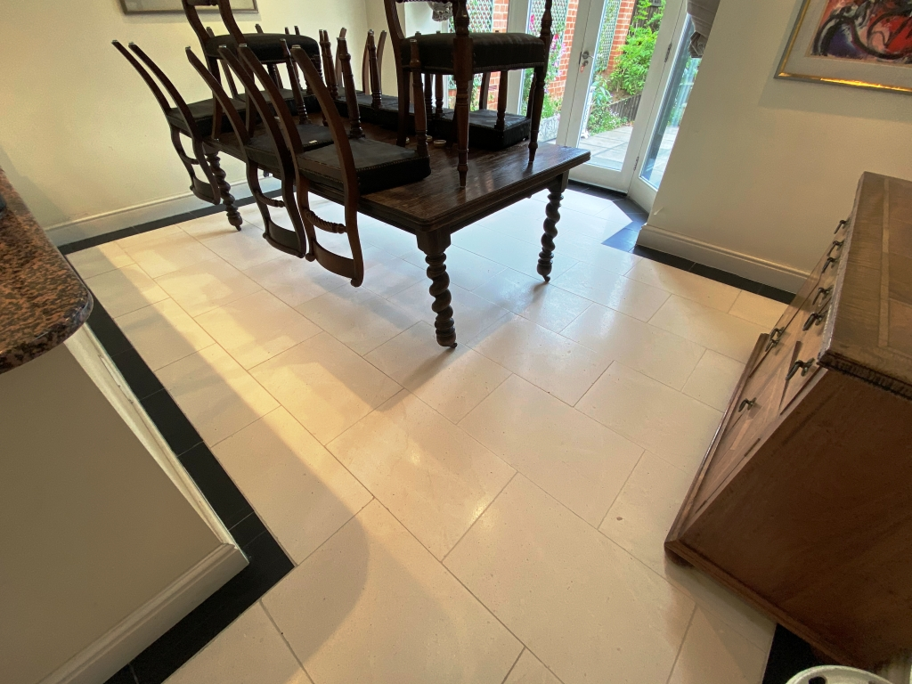 Cream Limestone Floor After Cleaning Cambridge