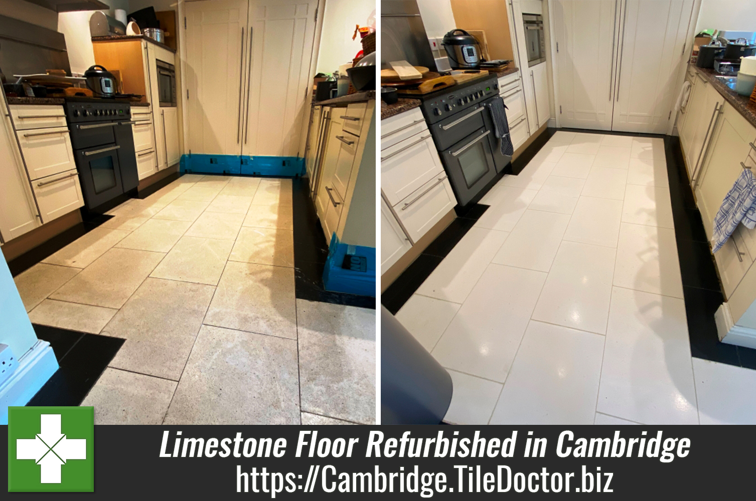 Cream Limestone Floor Refurbished in Cambridge