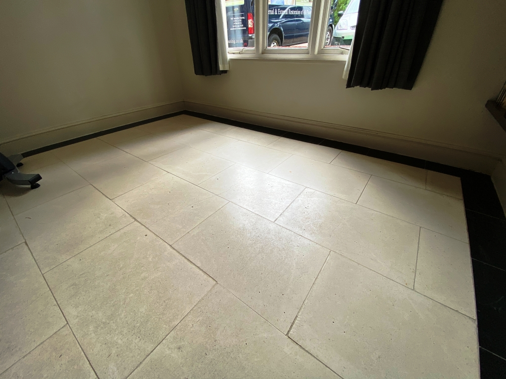 Cream Limestone Floor Before Cleaning Cambridge