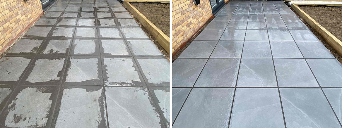 Removing Grout Stains from a Porcelain Tiled Patio in Ely