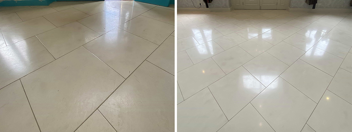 Large Pale Limestone Hallway Cleaned, Polished and Sealed in Toft