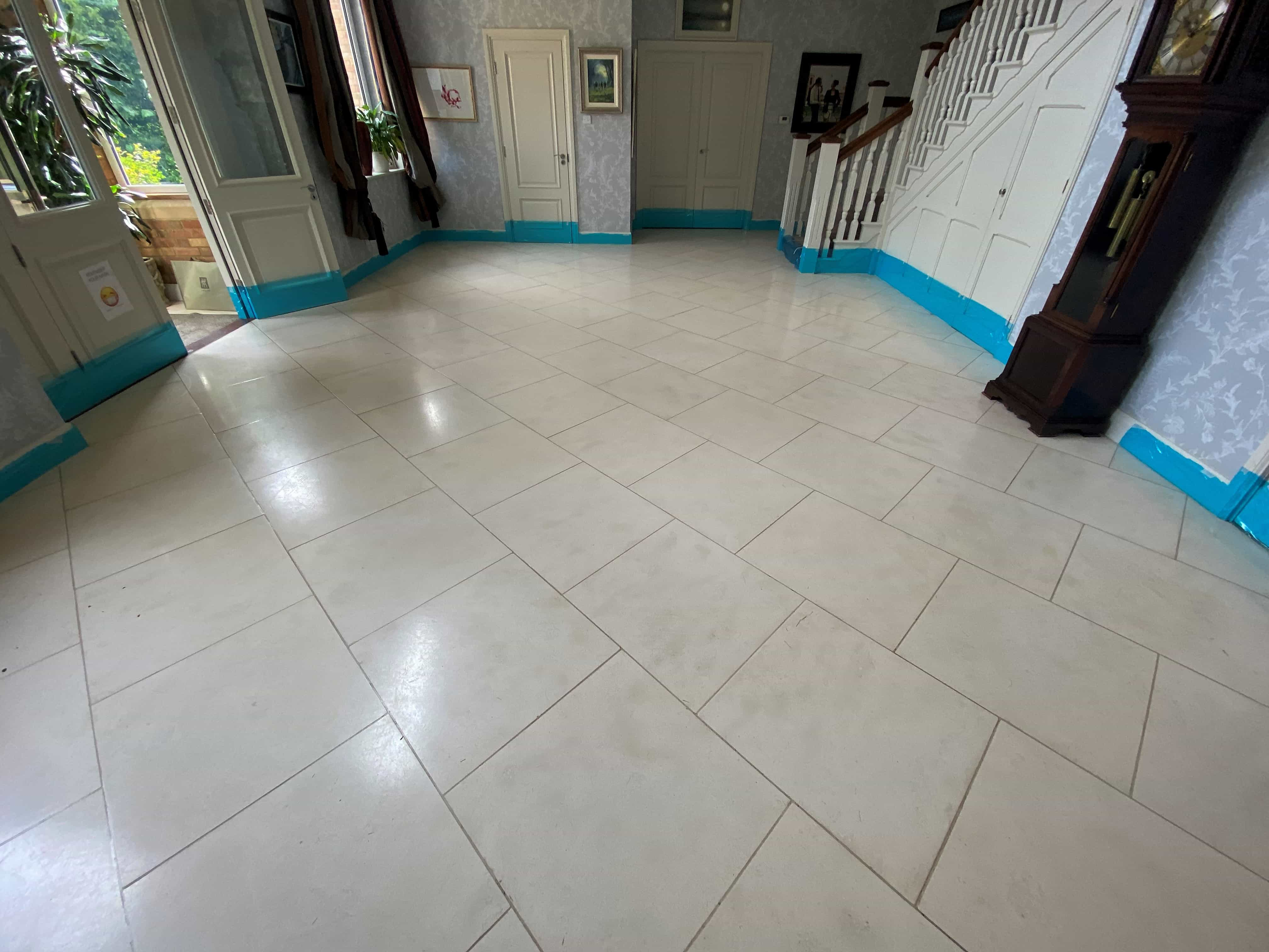 Polished Limestone Floor Before Cleaning Toft