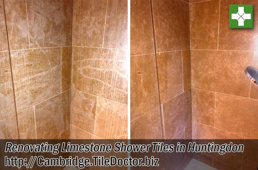 Acid Damaged Limestone Shower Tiles Before After Renovation Huntingdon